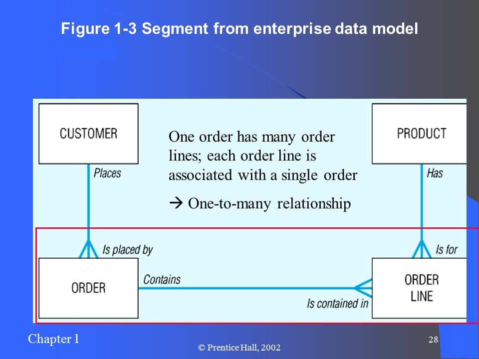Chapter 1 27 © Prentice Hall, 2002 Figure 1-3 Segment from enterprise data model One customer may place many orders, but each order is placed by a single customer  One-to-many relationship
