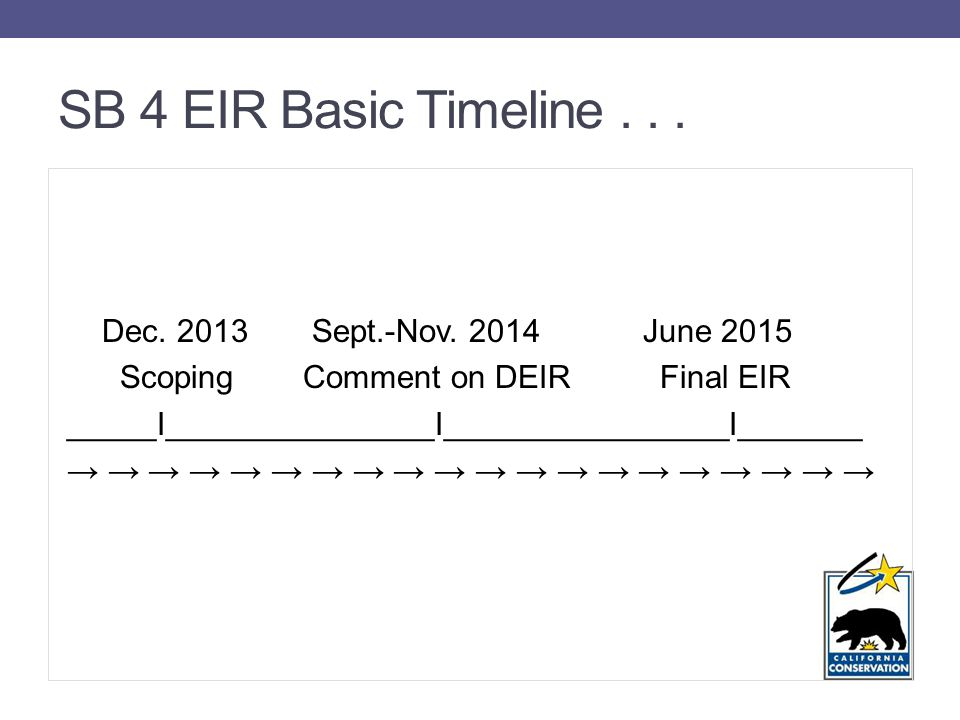 SB 4 EIR Basic Timeline... Dec Sept.-Nov.