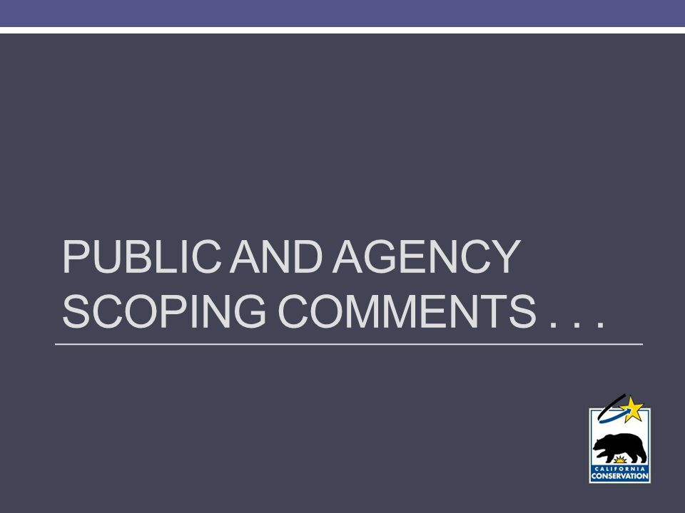 PUBLIC AND AGENCY SCOPING COMMENTS...