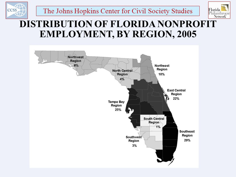 The Johns Hopkins Center for Civil Society Studies DISTRIBUTION OF FLORIDA NONPROFIT EMPLOYMENT, BY REGION, 2005