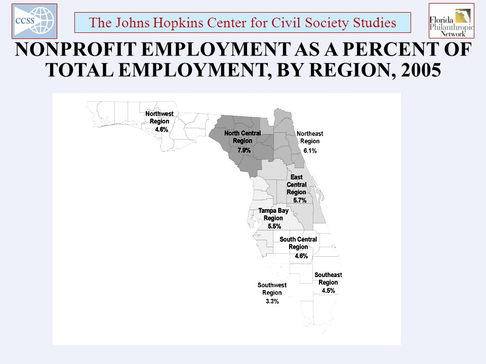 The Johns Hopkins Center for Civil Society Studies NONPROFIT EMPLOYMENT AS A PERCENT OF TOTAL EMPLOYMENT, BY REGION, 2005