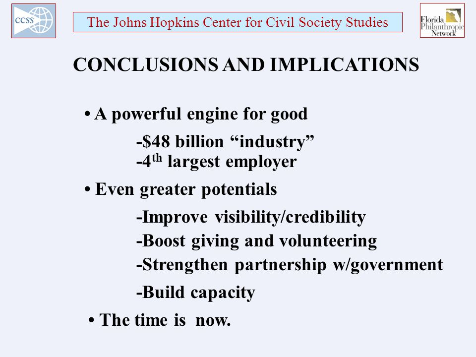 The Johns Hopkins Center for Civil Society Studies A powerful engine for good CONCLUSIONS AND IMPLICATIONS -$48 billion industry Even greater potentials The time is now.