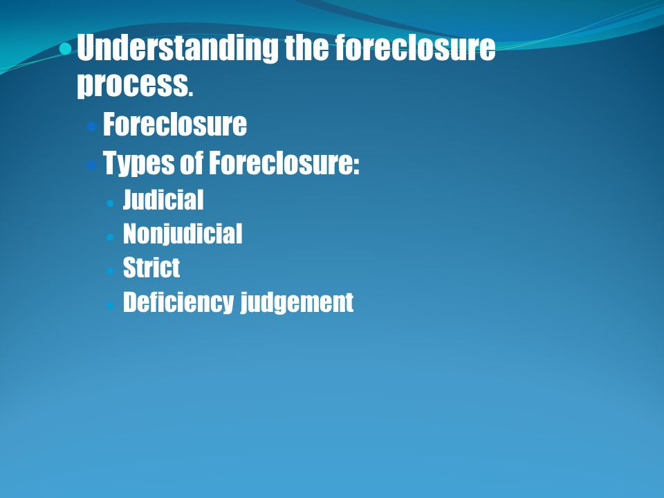 Understanding the foreclosure process.