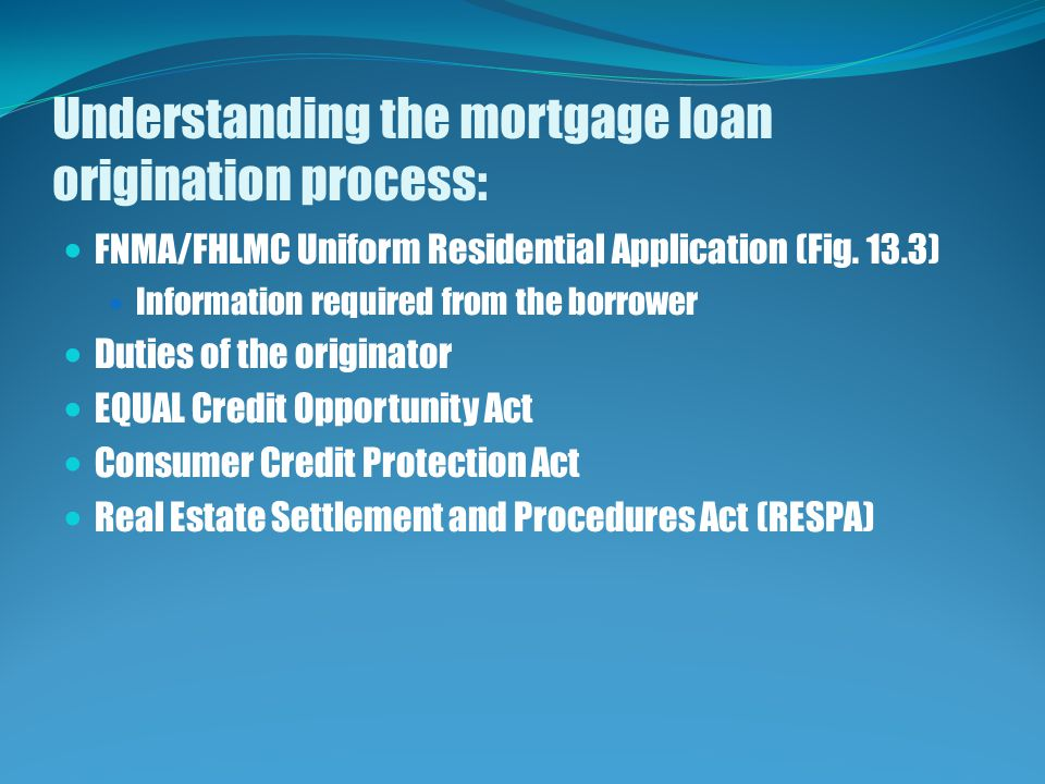 Understanding the mortgage loan origination process: FNMA/FHLMC Uniform Residential Application (Fig.