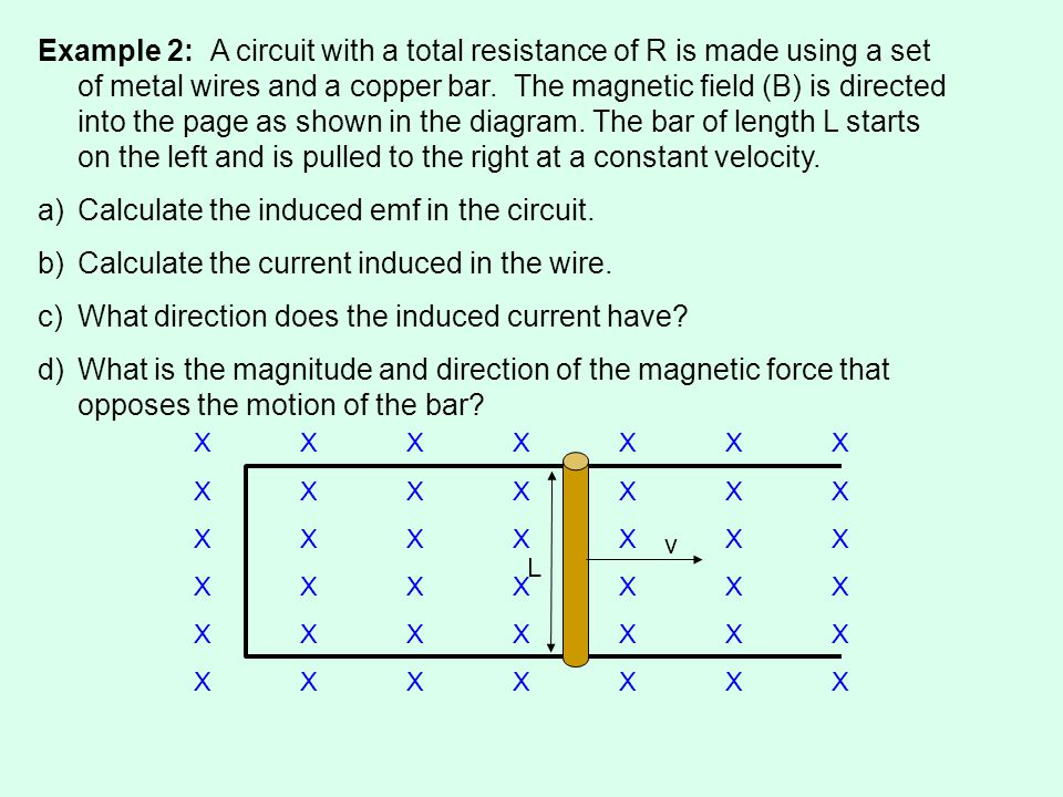Example 2: A circuit with a total resistance of R is made using a set of metal wires and a copper bar.