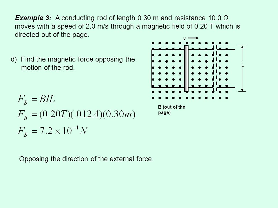 v B (out of the page) L Example 3: A conducting rod of length 0.30 m and resistance 10.0 Ω moves with a speed of 2.0 m/s through a magnetic field of 0.20 T which is directed out of the page.