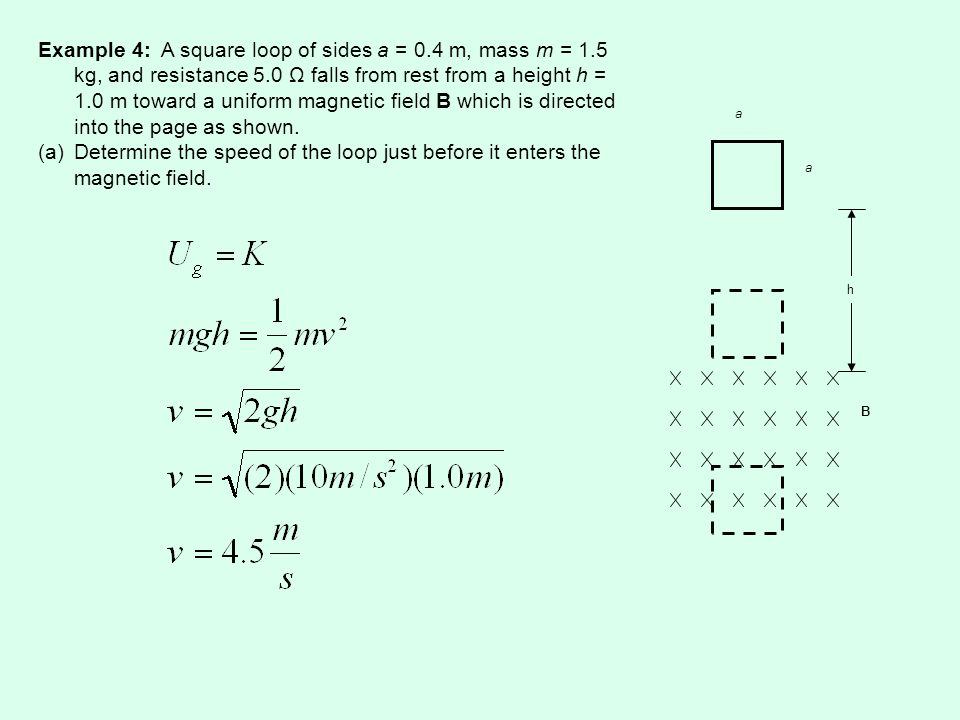 a a B h Example 4: A square loop of sides a = 0.4 m, mass m = 1.5 kg, and resistance 5.0 Ω falls from rest from a height h = 1.0 m toward a uniform magnetic field B which is directed into the page as shown.