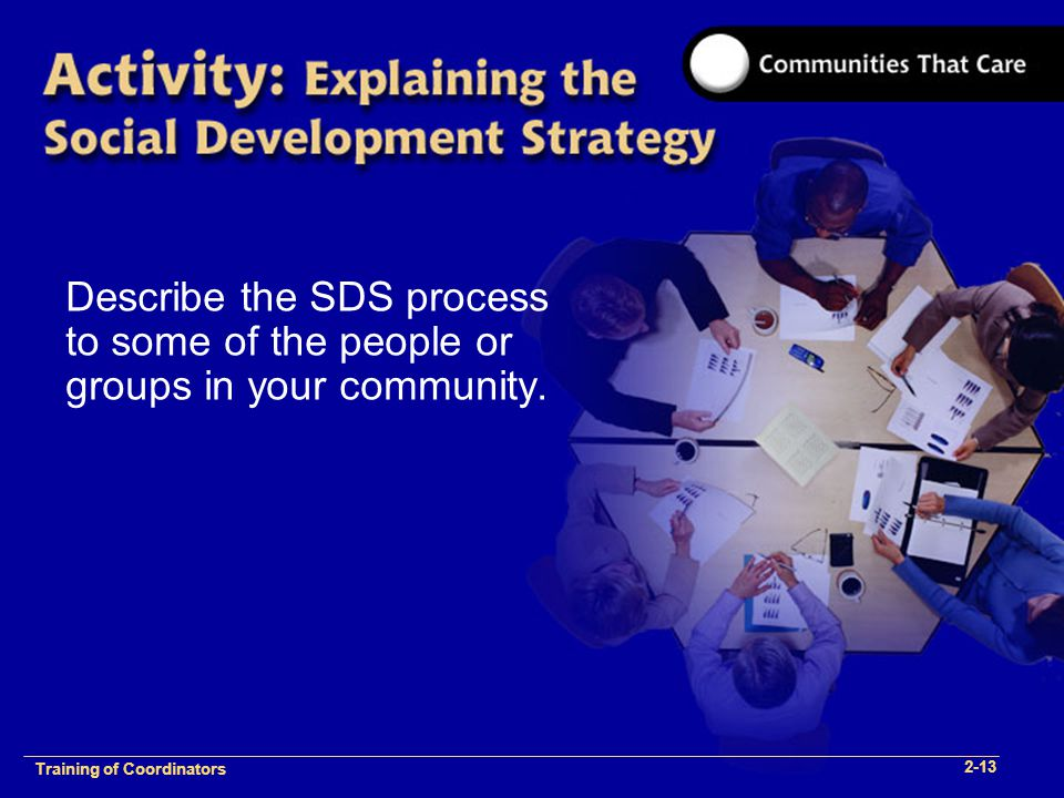 1-2 Training of Process Facilitators Describe the SDS process to some of the people or groups in your community.