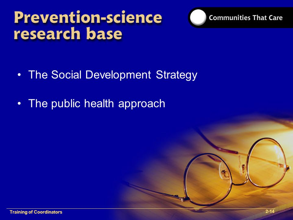1-2 Training of Process FacilitatorsTraining of Coordinators 2-14 The Social Development Strategy The public health approach