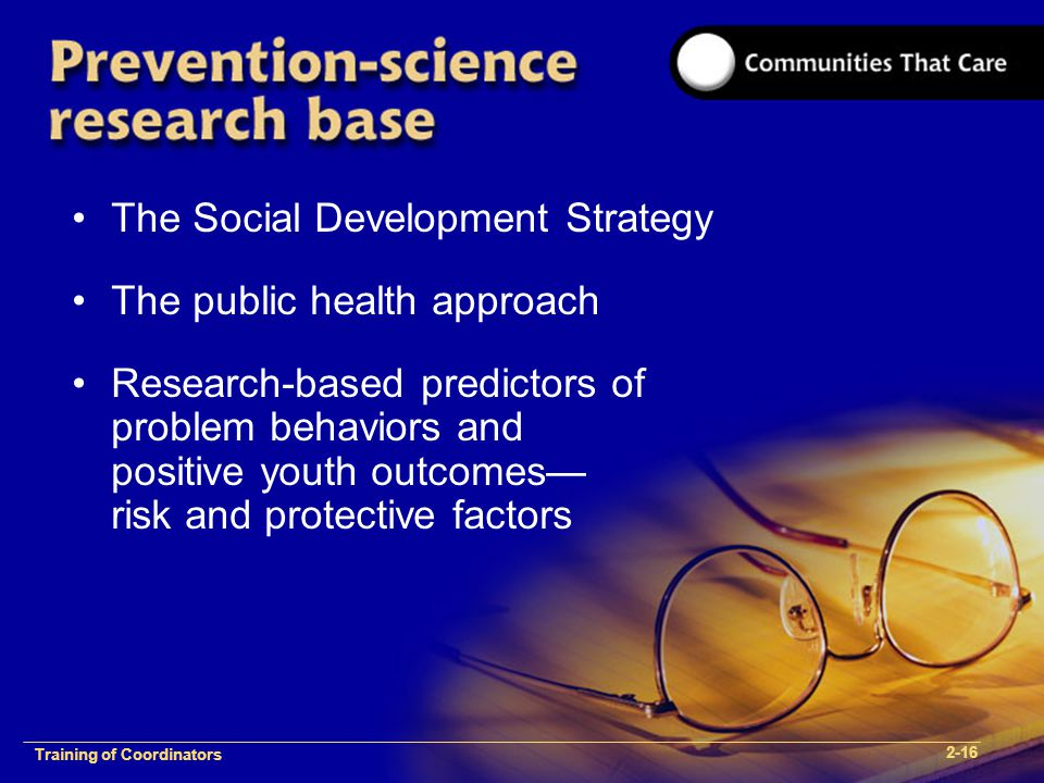 1-2 Training of Process FacilitatorsTraining of Coordinators 2-16 The Social Development Strategy The public health approach Research-based predictors of problem behaviors and positive youth outcomes— risk and protective factors