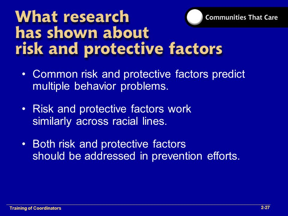 1-2 Training of Process Facilitators Common risk and protective factors predict multiple behavior problems.