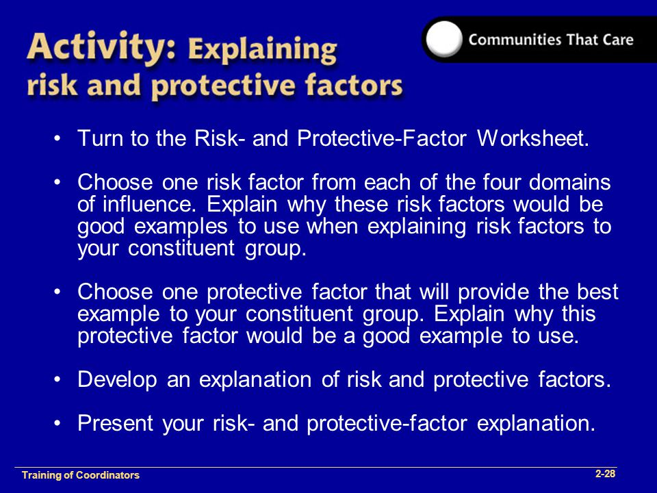 1-2 Training of Process Facilitators Turn to the Risk- and Protective-Factor Worksheet.