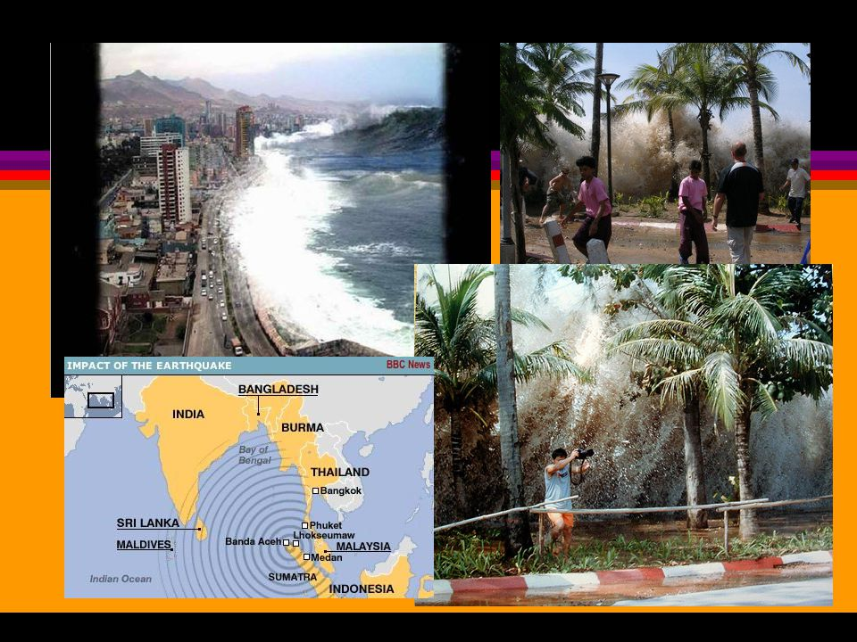 Earthquake Dangers oMost injuries and deaths are caused by falling objects and most property damage results from fires that start Tsunami Tsunami: seismic sea wave sometimes generated when an earthquake originates on the ocean floor Tsunami