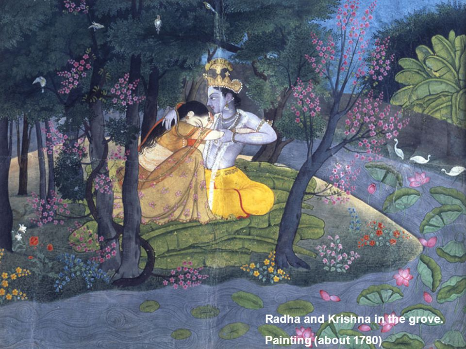 Radha and Krishna in the grove. Painting (about 1780)