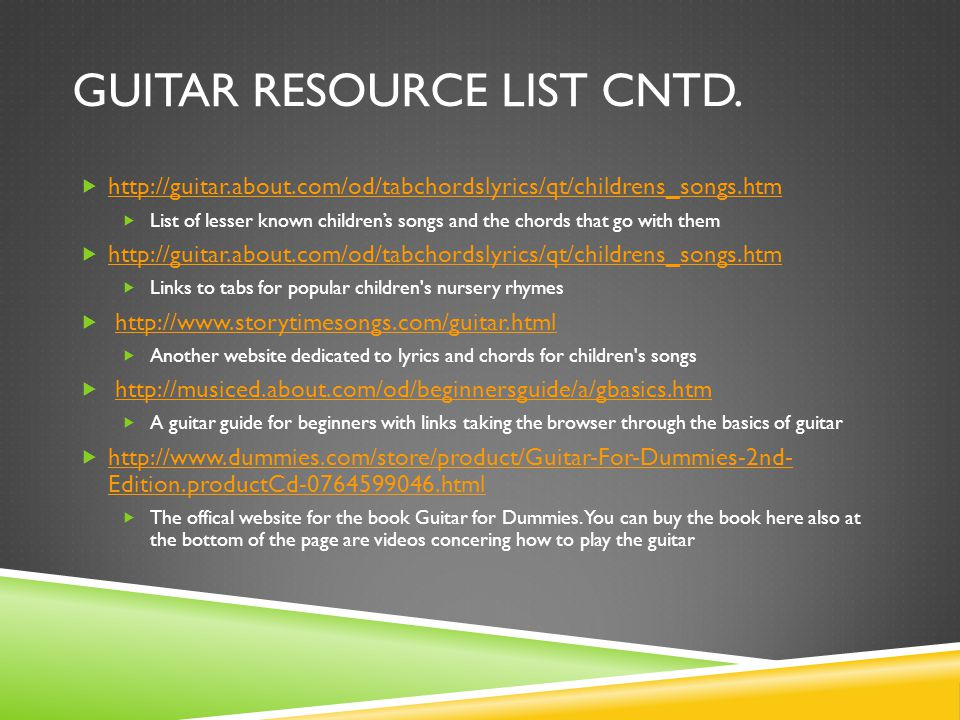 Resource Notebook Guitar And Recorder Van Baum Table Of Contents
