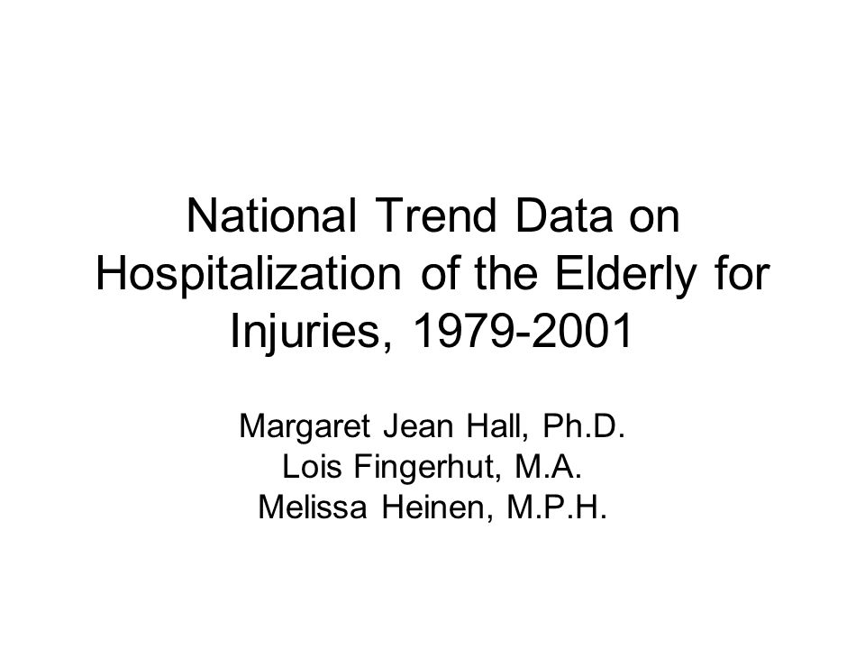 National Trend Data on Hospitalization of the Elderly for Injuries, Margaret Jean Hall, Ph.D.