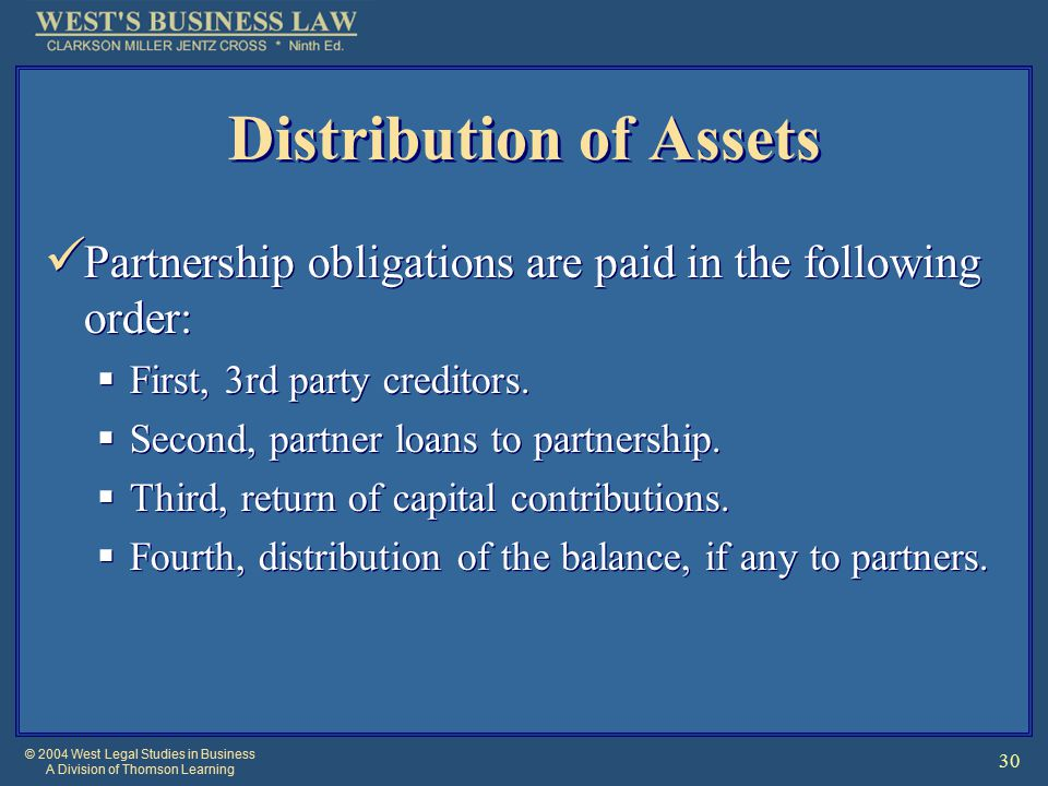 © 2004 West Legal Studies in Business A Division of Thomson Learning 30 Distribution of Assets Partnership obligations are paid in the following order:  First, 3rd party creditors.