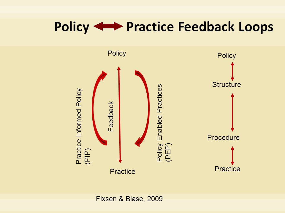 Policy Practice Structure Procedure Policy Practice Feedback Policy Enabled Practices (PEP) Practice Informed Policy (PIP) Fixsen & Blase, 2009