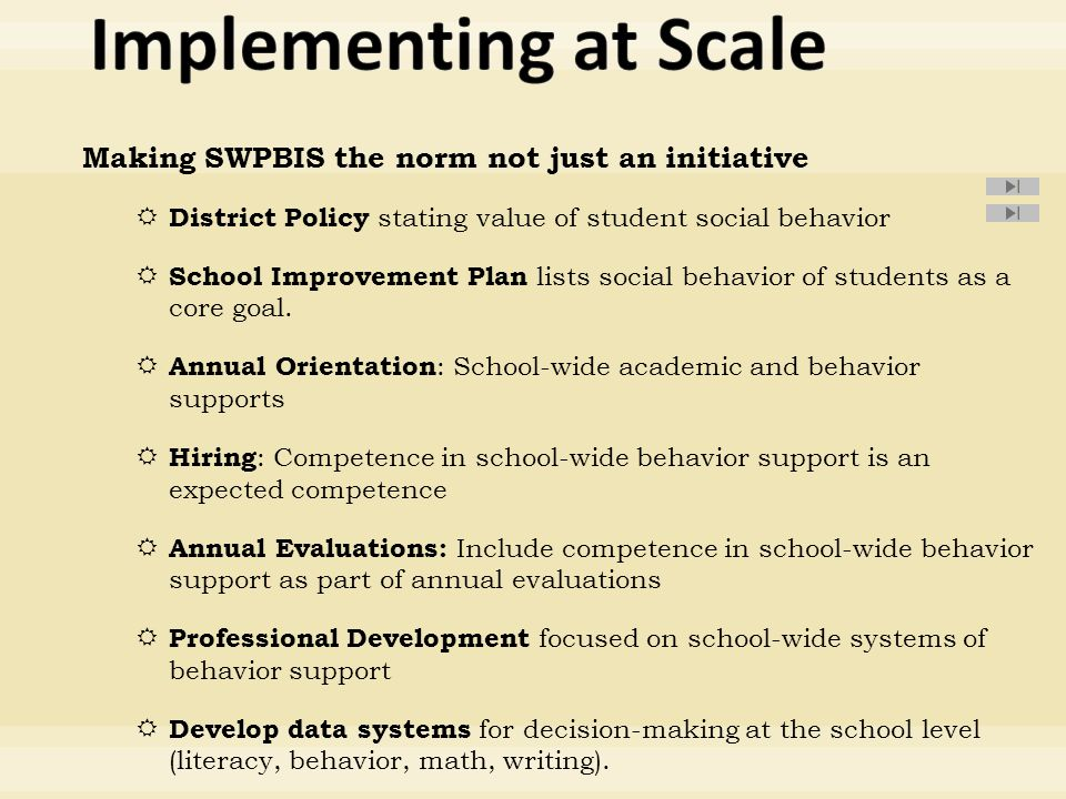Making SWPBIS the norm not just an initiative  District Policy stating value of student social behavior  School Improvement Plan lists social behavior of students as a core goal.