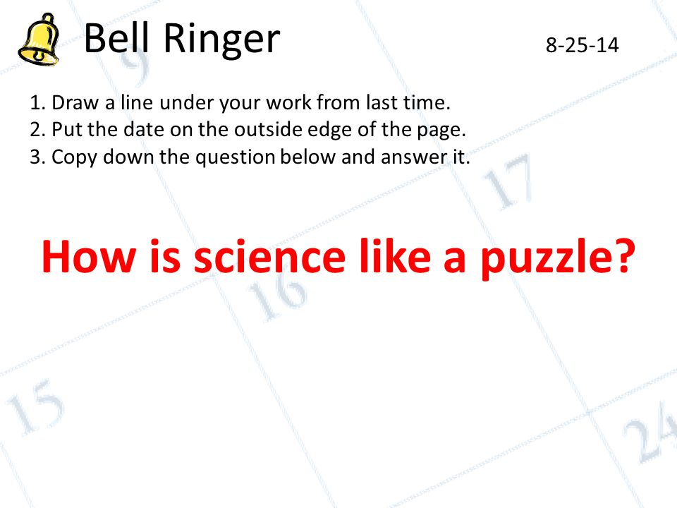 Bell Ringer Draw a line under your work from last time  2  Put the