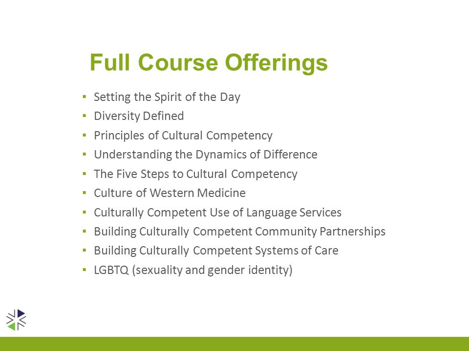 Full Course Offerings ▪ Setting the Spirit of the Day ▪ Diversity Defined ▪ Principles of Cultural Competency ▪ Understanding the Dynamics of Difference ▪ The Five Steps to Cultural Competency ▪ Culture of Western Medicine ▪ Culturally Competent Use of Language Services ▪ Building Culturally Competent Community Partnerships ▪ Building Culturally Competent Systems of Care ▪ LGBTQ (sexuality and gender identity)