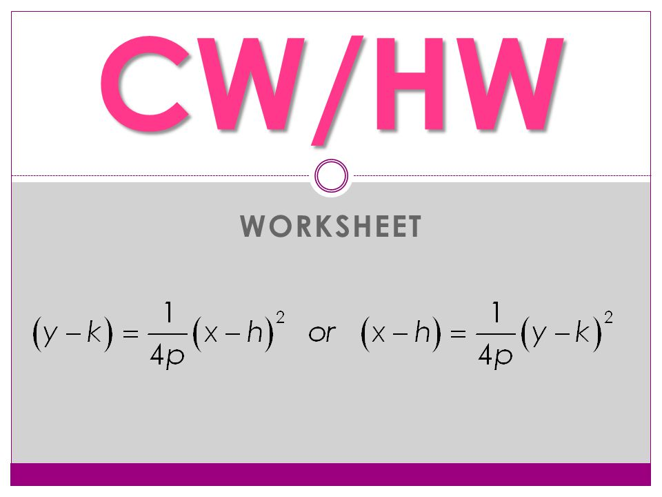 WORKSHEET CW/HW