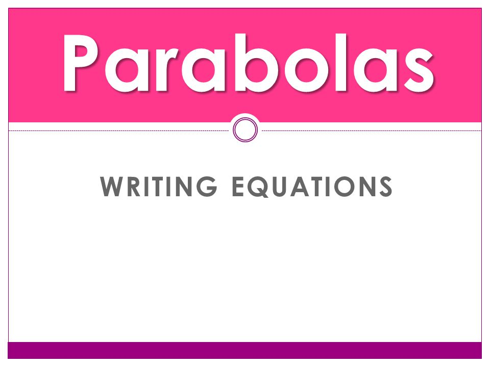 WRITING EQUATIONS Parabolas