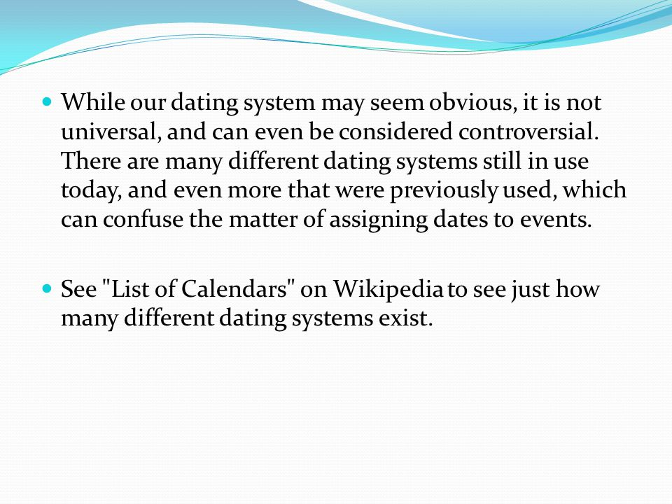 Dating systems wikipedia