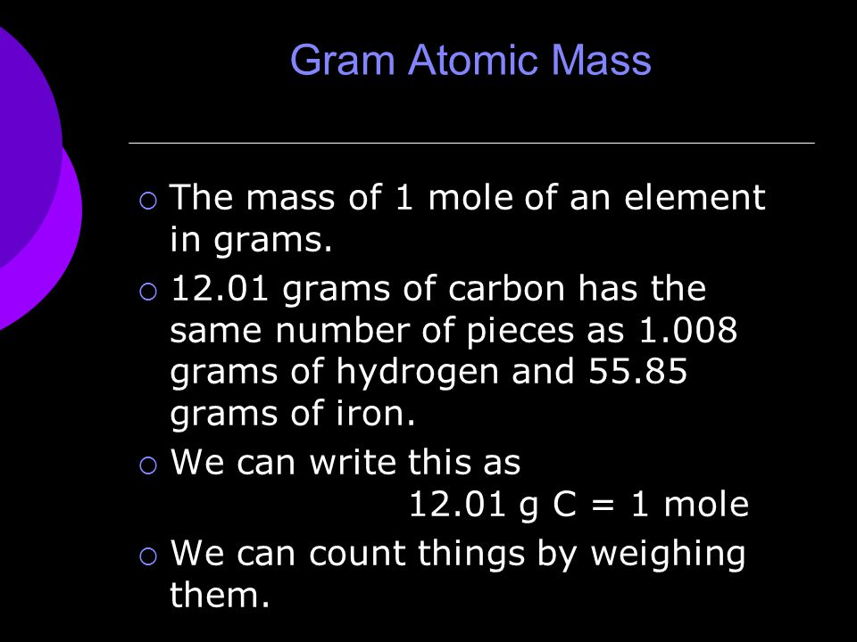 Gram Atomic Mass  The mass of 1 mole of an element in grams.
