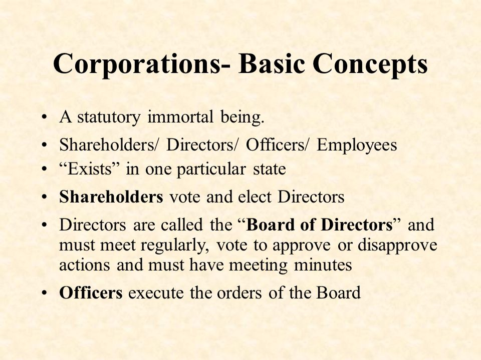 Corporations- Basic Concepts A statutory immortal being.