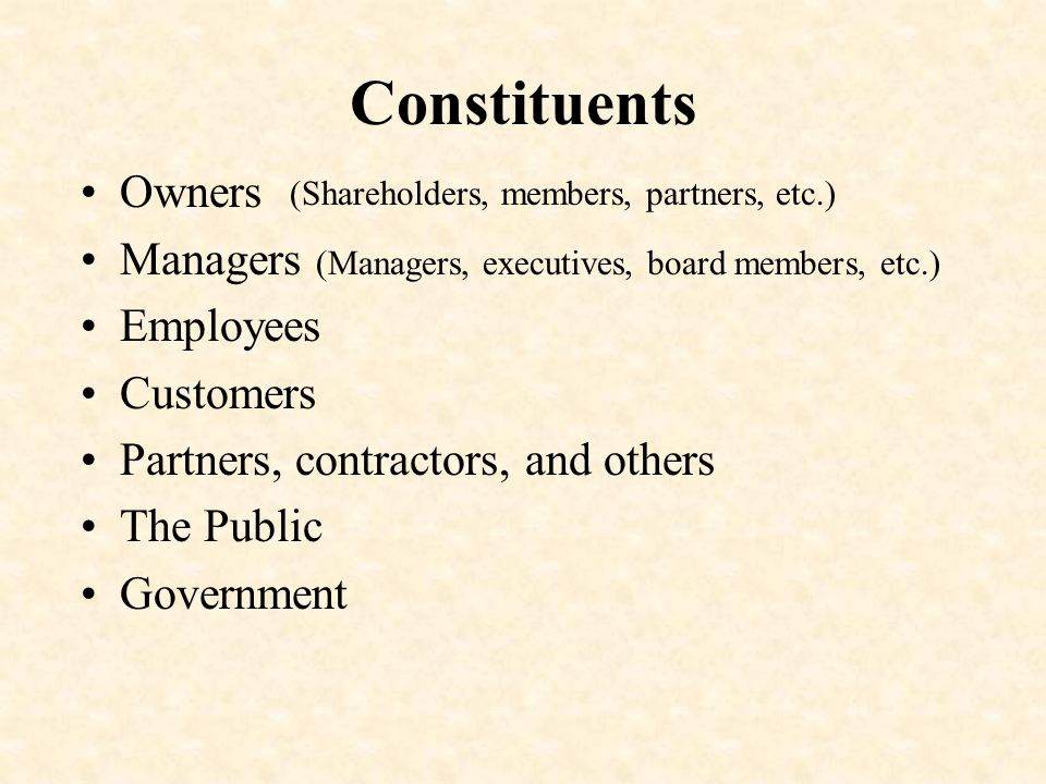 Constituents Owners Managers Employees Customers Partners, contractors, and others The Public Government (Shareholders, members, partners, etc.) (Managers, executives, board members, etc.)