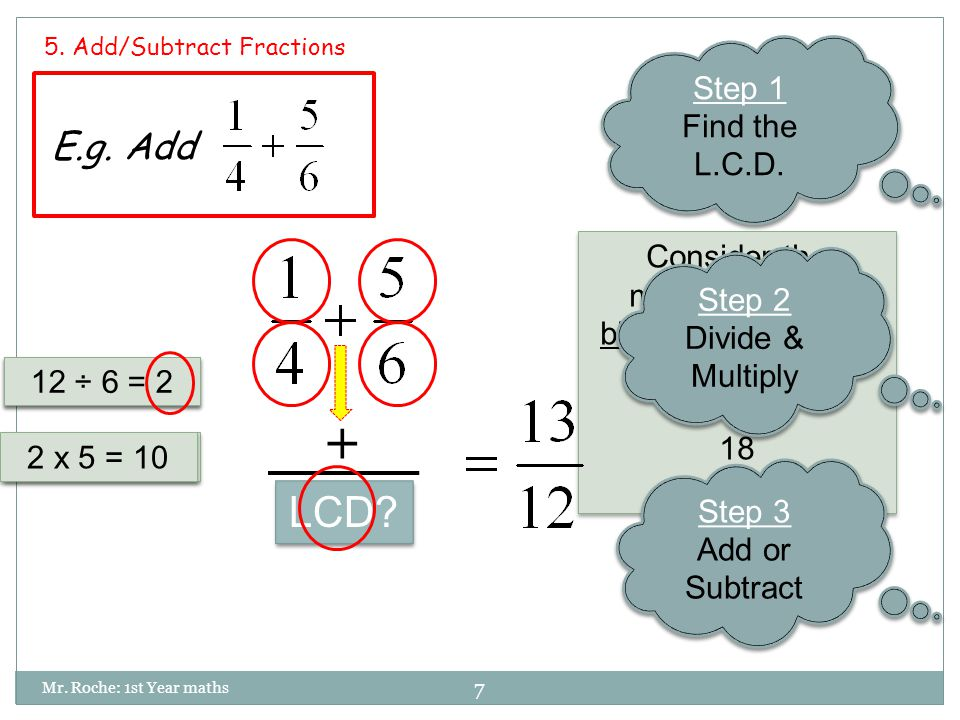7 Mr. Roche: 1st Year maths 5. Add/Subtract Fractions E.g.