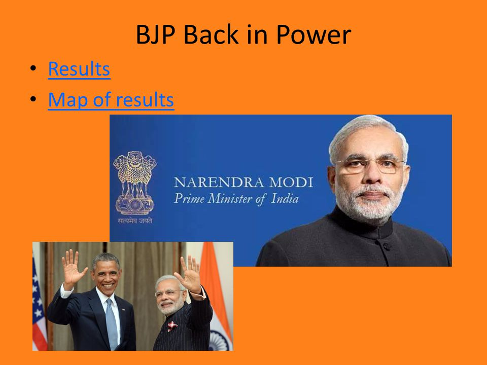 BJP Back in Power Results Map of results