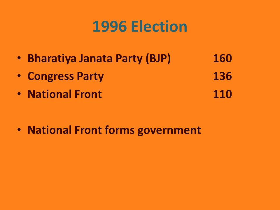 1996 Election Bharatiya Janata Party (BJP) 160 Congress Party 136 National Front 110 National Front forms government