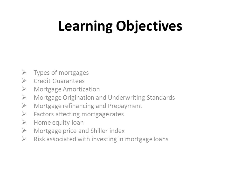 Learning Objectives Types Of Mortgages Credit Guarantees