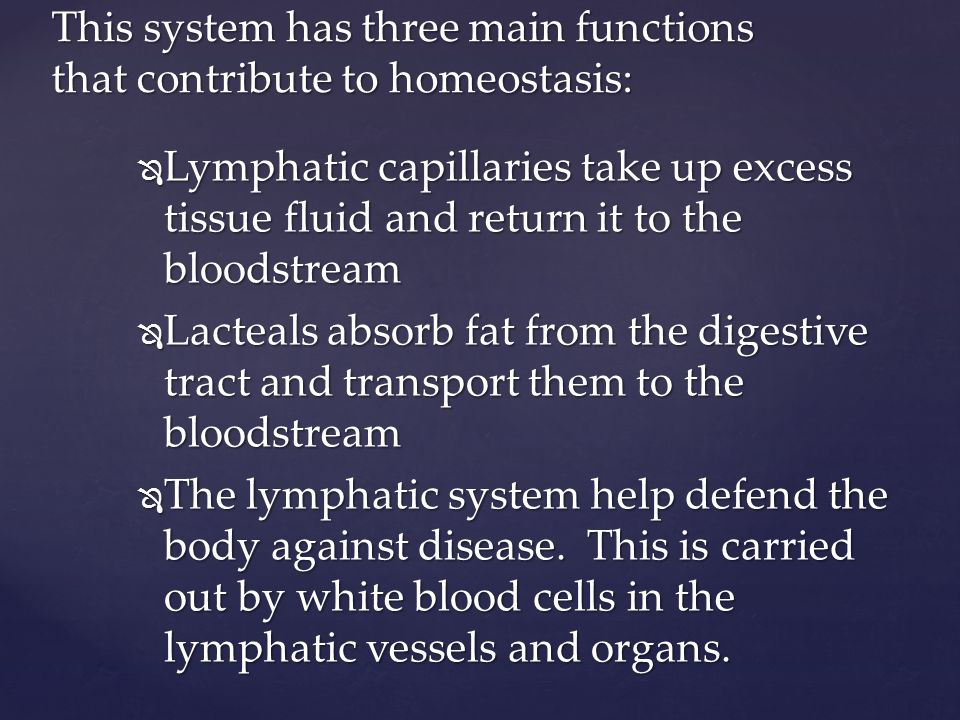  Lymphatic capillaries take up excess tissue fluid and return it to the bloodstream  Lacteals absorb fat from the digestive tract and transport them to the bloodstream  The lymphatic system help defend the body against disease.