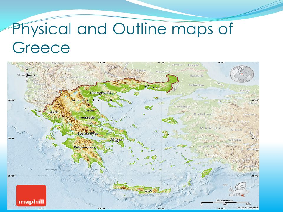 Greece Physical And Outline Maps Of Greece The Europe Map Of Greece
