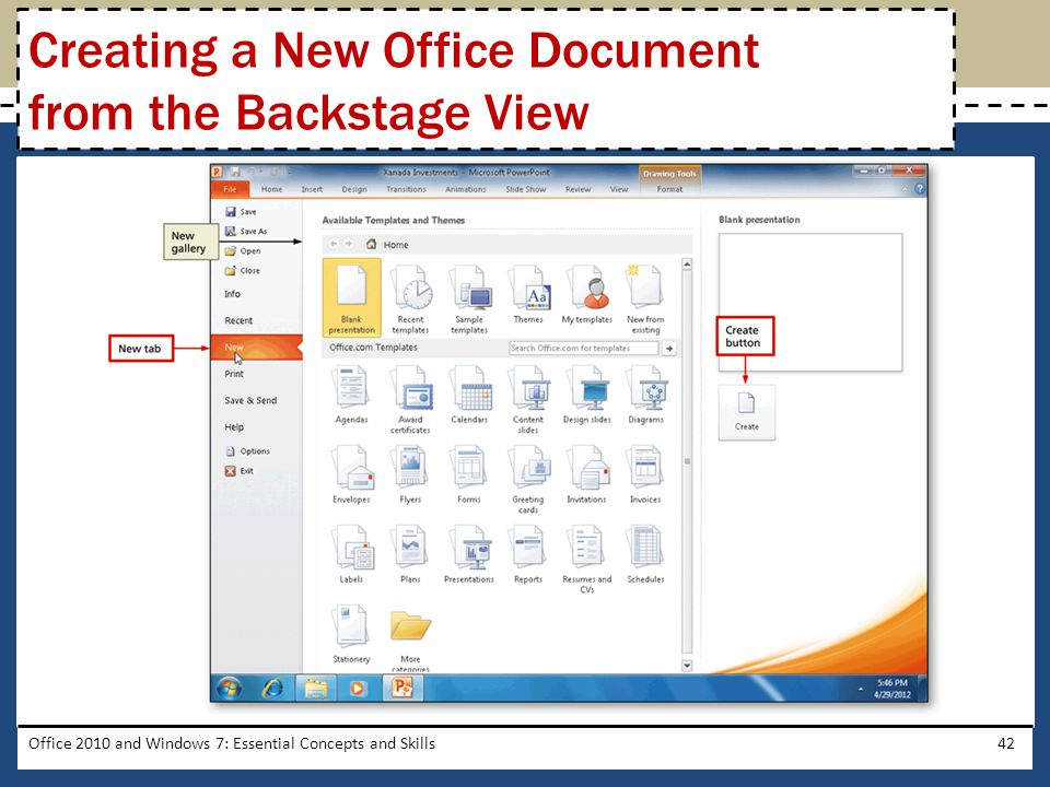 Office 2010 and Windows 7: Essential Concepts and Skills42 Creating a New Office Document from the Backstage View