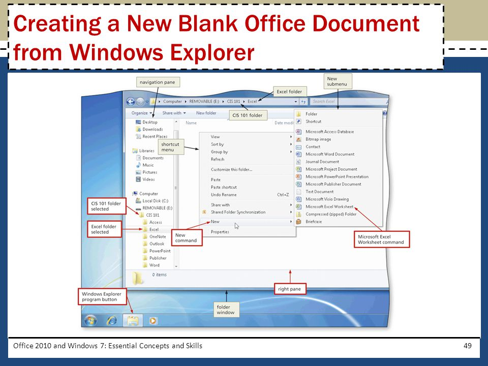 Office 2010 and Windows 7: Essential Concepts and Skills49 Creating a New Blank Office Document from Windows Explorer