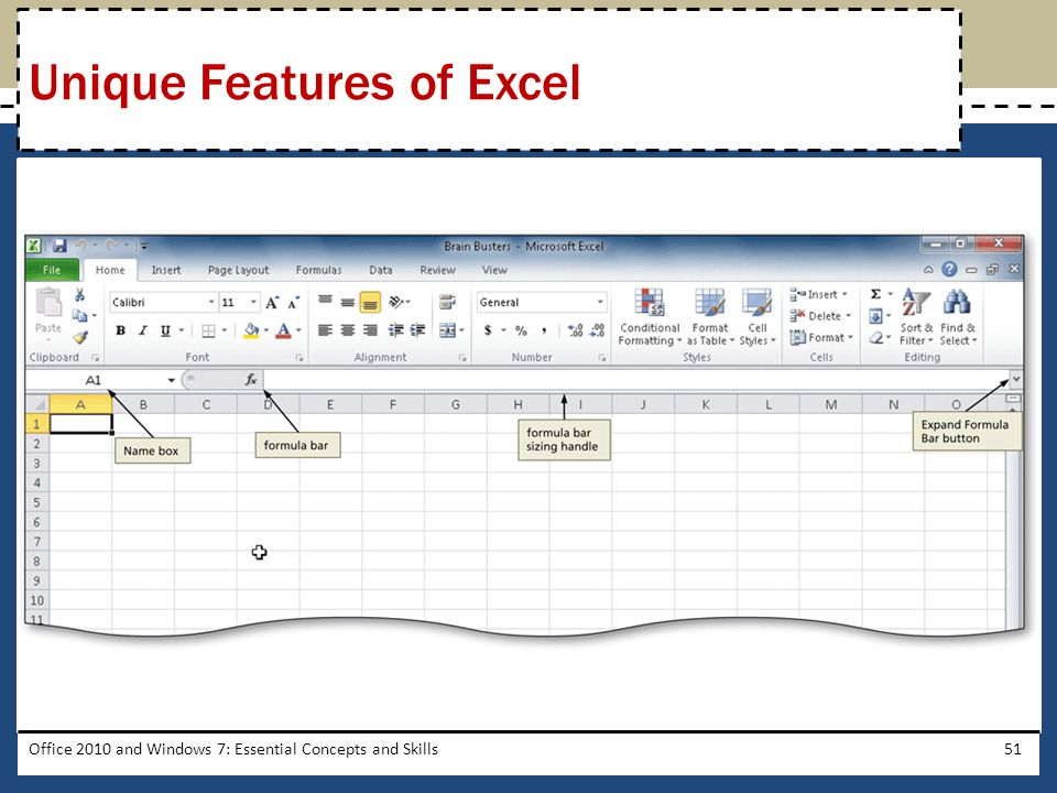 Office 2010 and Windows 7: Essential Concepts and Skills51 Unique Features of Excel