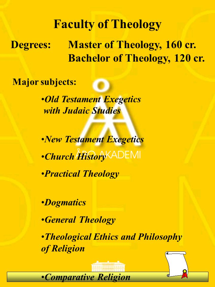 Faculty of Theology Degrees:Master of Theology, 160 cr.
