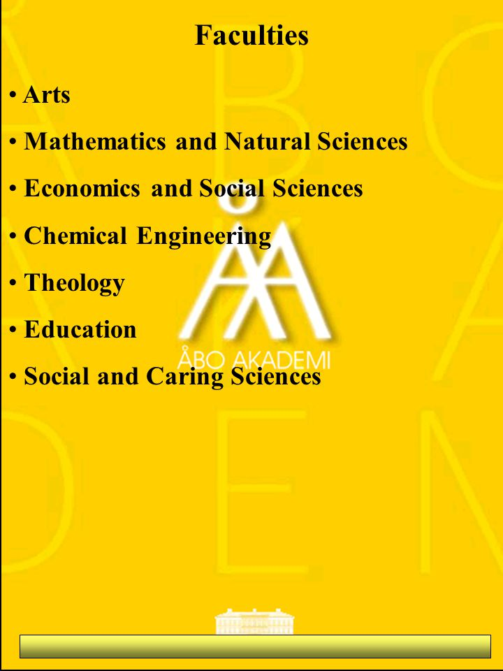 Arts Mathematics and Natural Sciences Economics and Social Sciences Chemical Engineering Theology Education Social and Caring Sciences Faculties