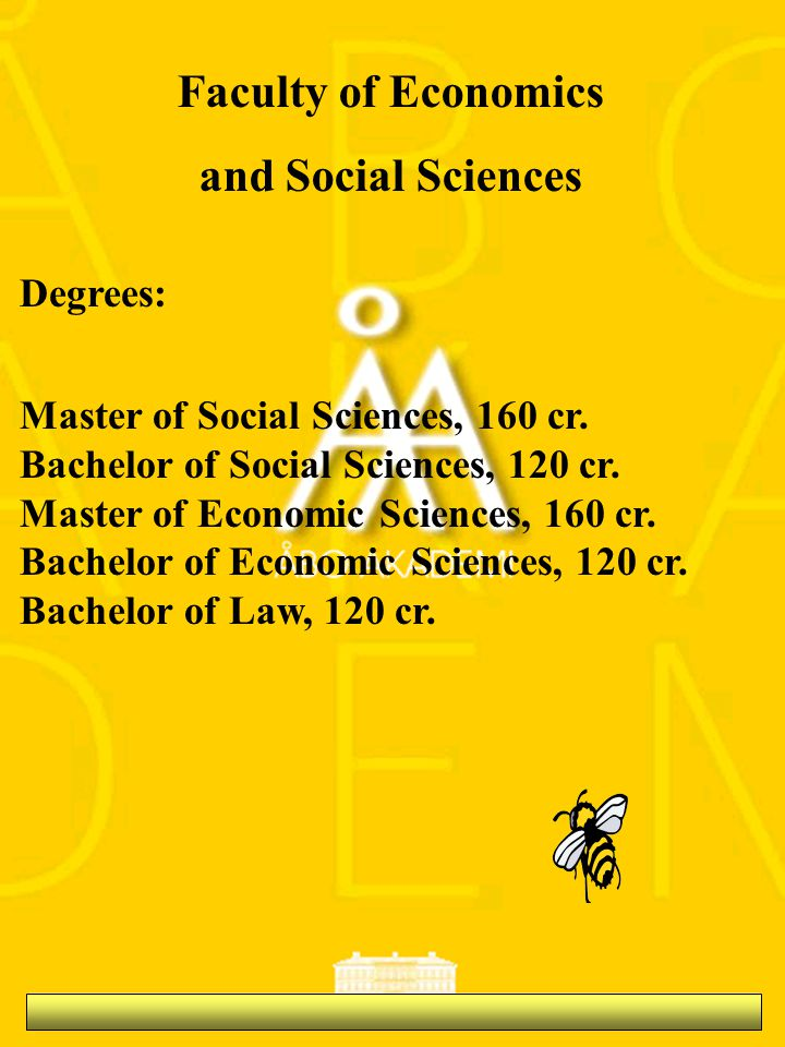 Faculty of Economics and Social Sciences Degrees: Master of Social Sciences, 160 cr.