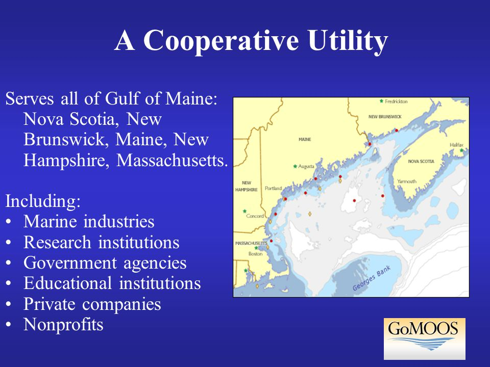 A Cooperative Utility Serves all of Gulf of Maine: Nova Scotia, New Brunswick, Maine, New Hampshire, Massachusetts.