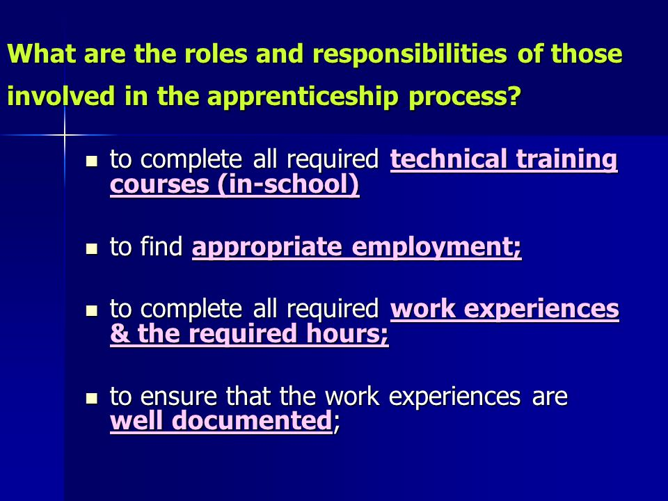 What are the roles and responsibilities of those involved in the apprenticeship process.