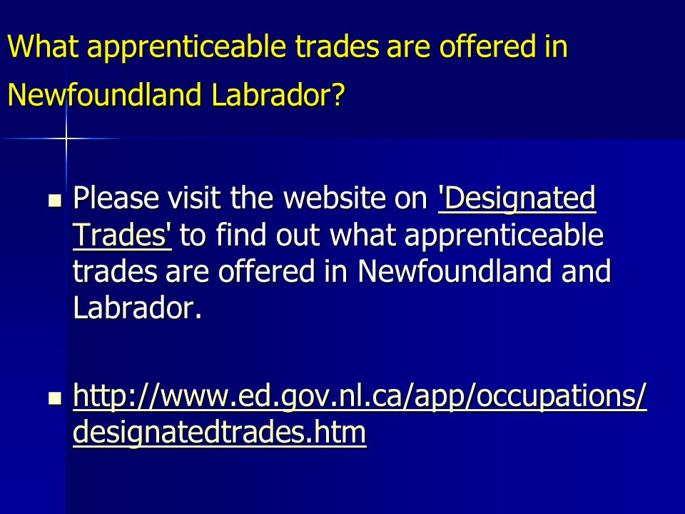 What apprenticeable trades are offered in Newfoundland Labrador.