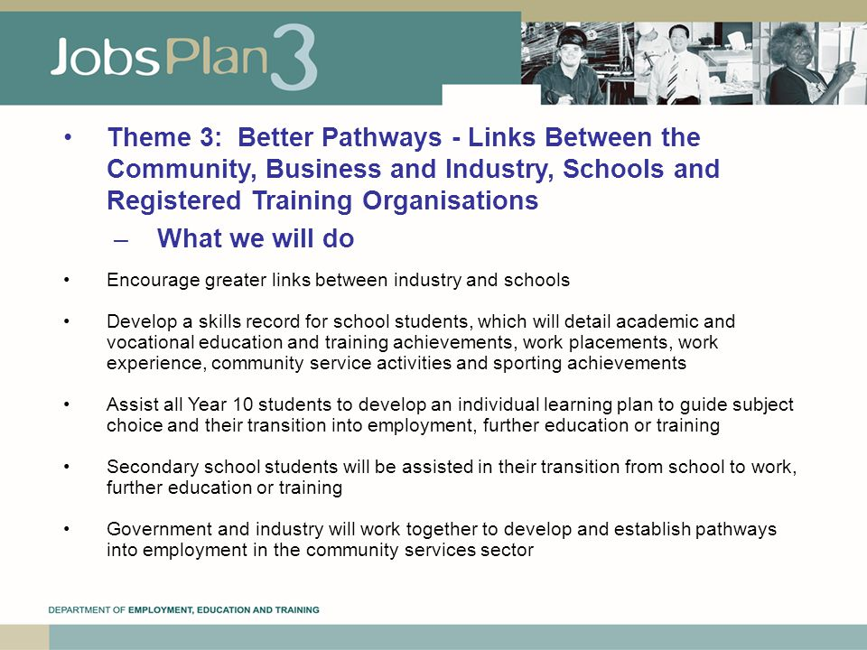 Theme 3: Better Pathways ‑ Links Between the Community, Business and Industry, Schools and Registered Training Organisations –What we will do Encourage greater links between industry and schools Develop a skills record for school students, which will detail academic and vocational education and training achievements, work placements, work experience, community service activities and sporting achievements Assist all Year 10 students to develop an individual learning plan to guide subject choice and their transition into employment, further education or training Secondary school students will be assisted in their transition from school to work, further education or training Government and industry will work together to develop and establish pathways into employment in the community services sector