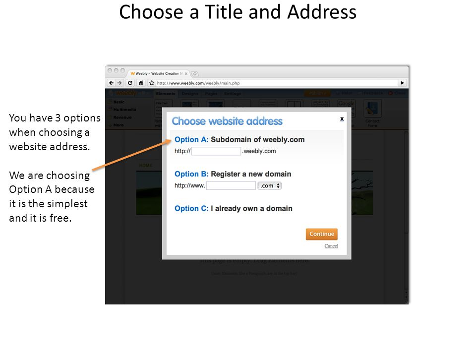 Choose a Title and Address You have 3 options when choosing a website address.