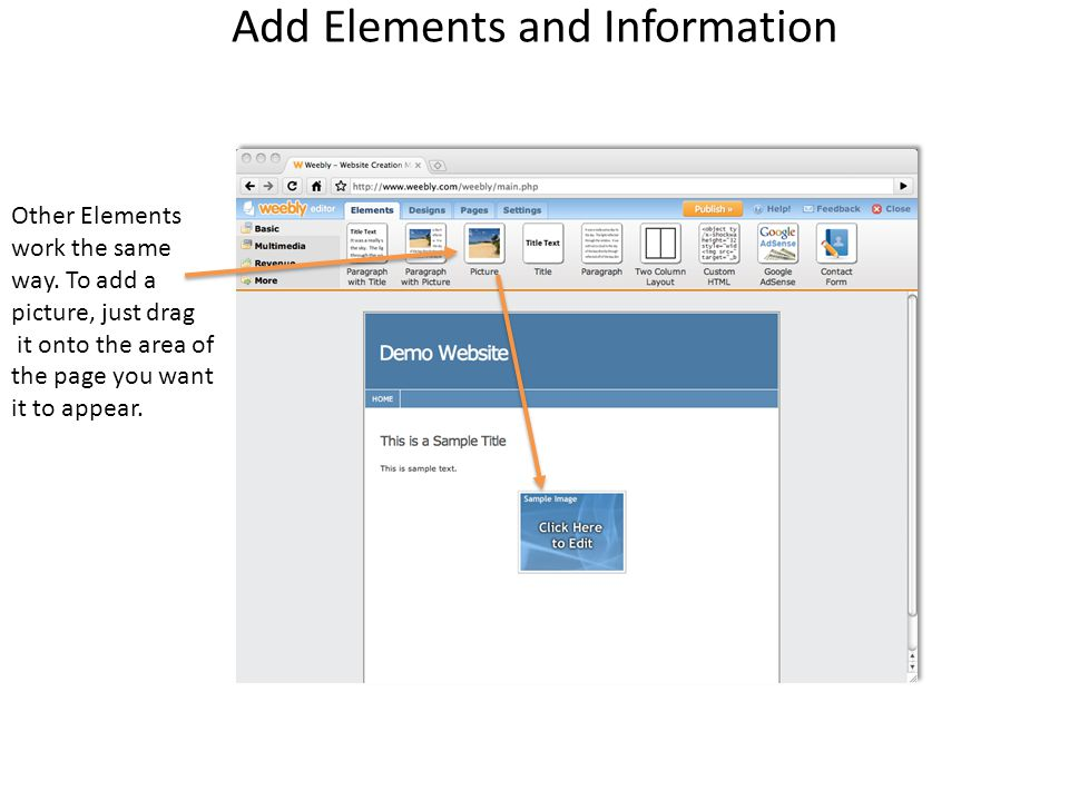 Add Elements and Information Other Elements work the same way.