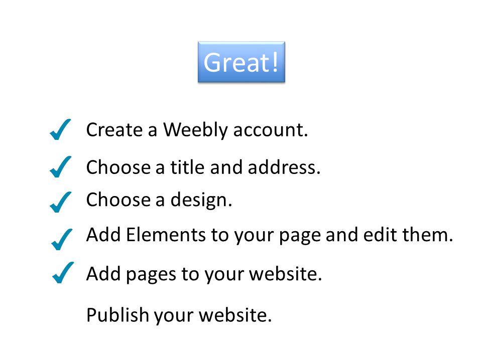 Great. Create a Weebly account. Add Elements to your page and edit them.